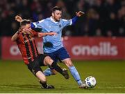 6 March 2020; Conor Levingston of Bohemians in action against Ryan Brennan of Shelbourne during the SSE Airtricity League Premier Division match between Bohemians and Shelbourne at Dalymount Park in Dublin. Photo by Stephen McCarthy/Sportsfile