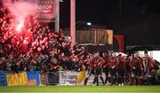 6 March 2020; Bohemians players and supporters celebrate after Danny Mandroiu scored their second goal during the SSE Airtricity League Premier Division match between Bohemians and Shelbourne at Dalymount Park in Dublin. Photo by Stephen McCarthy/Sportsfile