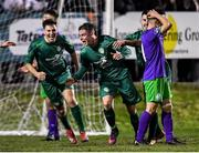 6 March 2020; Shane Barnes of Cabinteely, centre, celebrates scoring his side's first goal during the SSE Airtricity League First Division match between Cabinteely and Shamrock Rovers II at Stradbrook Road in Blackrock, Dublin. Photo by Piaras Ó Mídheach/Sportsfile