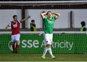 6 March 2020; Daire O'Connor of Cork City reacts after his side fail to convert a chance on goal during the SSE Airtricity League Premier Division match between St Patrick's Athletic and Cork City at Richmond Park in Dublin. Photo by Seb Daly/Sportsfile