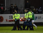 6 March 2020; Oliver Younger of St Patrick's Athletic is stretchered from the field by medical staff following an injury during the SSE Airtricity League Premier Division match between St Patrick's Athletic and Cork City at Richmond Park in Dublin. Photo by Seb Daly/Sportsfile