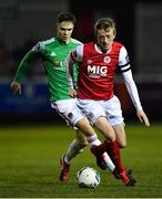 6 March 2020; Chris Forrester of St Patrick's Athletic in action against Cian Coleman of Cork City during the SSE Airtricity League Premier Division match between St Patrick's Athletic and Cork City at Richmond Park in Dublin. Photo by Seb Daly/Sportsfile