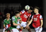 6 March 2020; Martin Rennie of St Patrick's Athletic has a header on goal during the SSE Airtricity League Premier Division match between St Patrick's Athletic and Cork City at Richmond Park in Dublin. Photo by Seb Daly/Sportsfile