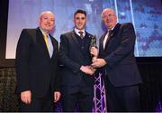 6 March 2020; AIB GAA Club Footballer of the Year Ronan Steede of Corofin is presented his award by AIB Head of Retail Banking Denis O'Callaghan and Uachtarán Chumann Lúthcleas John Horan during the AIB GAA Club Players' Awards at Croke Park in Dublin. Photo by Ramsey Cardy/Sportsfile