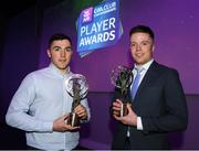 6 March 2020; Ballyboden St. Endas had two players selected for the AIB GAA Club Football team of the Year for 2019/20. Pictured is Colm Basquel, left, and Robbie McDaid. AIB and the GAA honoured 30 players on Friday evening at the third annual AIB GAA Club Player Awards, held at a prestigious event in Croke Park. The AIB GAA Club Player Awards recognise the top performing players throughout the provincial  Club Championships in hurling and football and celebrate their hard work, commitment and individual achievements at a national level. AIB are proud to be in their 29th season as sponsors of the AIB GAA Club Championship. For exclusive content and to see why AIB are backing Club and County follow us @AIB_GAA on Twitter, Instagram, Facebook and AIB.ie/GAA. Photo by Ramsey Cardy/Sportsfile