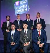 6 March 2020; Corofin had seven players selected for the AIB GAA Club Football team of the Year for 2019/20. Pictured is front row, from left, Gary Sice, Liam Silke and Bernard Power. Back row, from left, Martin Farragher, manager Kevin O'Brien, on behalf of Daithí Burke, Ronan Steede and Kieran Fitzgerald. AIB and the GAA honoured 30 players on Friday evening at the third annual AIB GAA Club Player Awards, held at a prestigious event in Croke Park. The AIB GAA Club Player Awards recognise the top performing players throughout the provincial Club Championships in hurling and football and celebrate their hard work, commitment and individual achievements at a national level. AIB are proud to be in their 29th season as sponsors of the AIB GAA Club Championship. For exclusive content and to see why AIB are backing Club and County follow us @AIB_GAA on Twitter, Instagram and Facebook and AIB.ie/GAA. Photo by Ramsey Cardy/Sportsfile