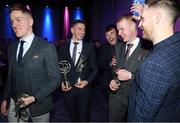 6 March 2020; Borris-lleigh had five players selected for the AIB GAA Club Hurling team of the Year for 2019/20. Pictured are, from left, Dan McCormack, Brendan Maher, Jerry Kelly, James McCormack and Paddy Stapleton. AIB and the GAA honoured 30 players on Friday evening at the third annual AIB GAA Club Player Awards, held at a prestigious event in Croke Park. The AIB GAA Club Player Awards recognise the top performing players throughout the provincial Club Championships in hurling and football and celebrate their hard work, commitment and individual achievements at a national level. AIB are proud to be in their 29th season as sponsors of the AIB GAA Club Championship. For exclusive content and to see why AIB are backing Club and County follow us @AIB_GAA on Twitter, Instagram, Facebook and AIB.ie/GAA. Photo by Ramsey Cardy/Sportsfile