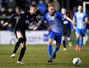 6 March 2020; Daniel Kelly of Dundalk and Ryan Connolly of Finn Harps during the SSE Airtricity League Premier Division match between Finn Harps and Dundalk at Finn Park in Ballybofey, Donegal. Photo by Ben McShane/Sportsfile