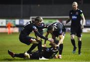 6 March 2020; Patrick Hoban of Dundalk, bottom, celebrates after scoring his side's first goal with team-mates Daniel Kelly, left, and Michael Duffy during the SSE Airtricity League Premier Division match between Finn Harps and Dundalk at Finn Park in Ballybofey, Donegal. Photo by Ben McShane/Sportsfile