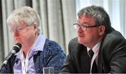 7 March 2020; Con Moynihan, Development Officer, right, and Geraldine Carey, Treasurer, during the LGFA Annual Congress 2020 at the Loughrea Hotel & Spa in Loughrea, Galway. Photo by Piaras Ó Mídheach/Sportsfile