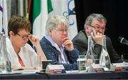 7 March 2020; Members of the top table, from left, Kathleen Kane, Assistant Secretary, Geraldine Carey, Treasurer, and Con Moynihan, Development Officer, during the LGFA Annual Congress 2020 at the Loughrea Hotel & Spa in Loughrea, Galway. Photo by Piaras Ó Mídheach/Sportsfile