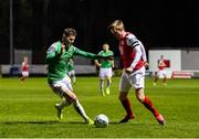 6 March 2020; Chris Forrester of St Patrick's Athletic in action against Charlie Fleming of Cork City during the SSE Airtricity League Premier Division match between St Patrick's Athletic and Cork City at Richmond Park in Dublin. Photo by Seb Daly/Sportsfile