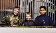 6 March 2020; Finn Harps supporters, from left, Liam Tierney, age 12, Jake Bonner, age 7, and Aiden Tierney, age 10, all from Letterkenny, Donegal, ahead of the SSE Airtricity League Premier Division match between Finn Harps and Dundalk at Finn Park in Ballybofey, Donegal. Photo by Ben McShane/Sportsfile