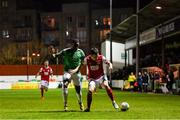 6 March 2020; Martin Rennie of St Patrick's Athletic in action against Joseph Olowu of Cork City during the SSE Airtricity League Premier Division match between St Patrick's Athletic and Cork City at Richmond Park in Dublin. Photo by Seb Daly/Sportsfile