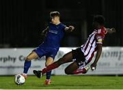 6 March 2020; Matthew Smith of Waterford in action against Danny Koy Lupano of Derry City during the SSE Airtricity League Premier Division match between Waterford and Derry City at RSC in Waterford. Photo by Michael P Ryan/Sportsfile