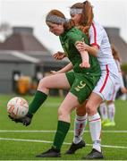 7 March 2020; Katie Law of Republic of Ireland in action against Mikayla Wildgoose of England during the Women's Under-15s John Read Trophy match between Republic of Ireland and England at FAI National Training Centre in Dublin. Photo by Sam Barnes/Sportsfile