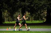 7 March 2020; Eventual race winner Wayne Snyman, right, of South Africa, and David Kenny of Farranfore Maine Valley AC, Kerry, competing during the Irish Life Health National 20k Walks Championships at St Anne's Park in Raheny, Dublin. Photo by Ramsey Cardy/Sportsfile