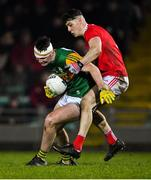 4 March 2020; Seán Quilter of Kerry in action against Daniel O'Mahony of Cork during the EirGrid Munster GAA Football U20 Championship Final match between Kerry and Cork at Austin Stack Park in Tralee, Kerry. Photo by Piaras Ó Mídheach/Sportsfile