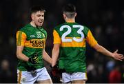 4 March 2020; Kerry players Seán Keane, left, and Dylan Geaney celebrate after the EirGrid Munster GAA Football U20 Championship Final match between Kerry and Cork at Austin Stack Park in Tralee, Kerry. Photo by Piaras Ó Mídheach/Sportsfile