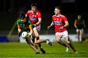 4 March 2020; Paul O'Shea of Kerry in action against Éanna O'Hanlon, left, and Jack Murphy of Cork during the EirGrid Munster GAA Football U20 Championship Final match between Kerry and Cork at Austin Stack Park in Tralee, Kerry. Photo by Piaras Ó Mídheach/Sportsfile