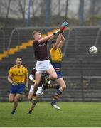 7 March 2020; James McLaughlin of Galway in action against Keith Doyle of Roscommon during the EirGrid Connacht GAA Football U20 Championship Final match between Galway and Roscommon at Tuam Stadium in Tuam, Galway. Photo by Seb Daly/Sportsfile