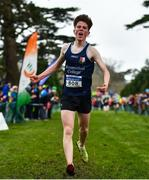 7 March 2020; Michael Morgan of Summerhill College, Co Sligo, celebrates as he crosses the line to win the Senior Boys race during the Irish Life Health All-Ireland Schools Cross Country Championships at Santry Demesne in Santry, Dublin. Photo by David Fitzgerald/Sportsfile