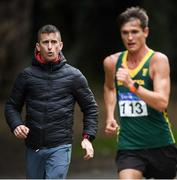 7 March 2020; Wayne Snyman of South Africa and coach Rob Heffernan during the Irish Life Health National 20k Walks Championships at St Anne's Park in Raheny, Dublin. Photo by Ramsey Cardy/Sportsfile