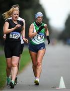 7 March 2020; Kate Veale of West Waterford AC, Waterford, left, and Maggie Helen O'Connor of St. Joseph's AC, Kilkenny, competing during the Irish Life Health National 20k Walks Championships at St Anne's Park in Raheny, Dublin. Photo by Ramsey Cardy/Sportsfile