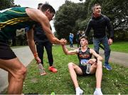 7 March 2020; Race winner Wayne Snyman of South Africa shakes hands with second placed David Kenny of Farranfore Maine Valley AC, Kerry, following the Irish Life Health National 20k Walks Championships at St Anne's Park in Raheny, Dublin. Photo by Ramsey Cardy/Sportsfile