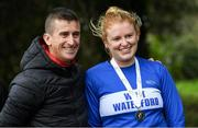 7 March 2020; Kate Veale of West Waterford AC, Waterford, and Rob Heffernan following the Irish Life Health National 20k Walks Championships at St Anne's Park in Raheny, Dublin. Photo by Ramsey Cardy/Sportsfile