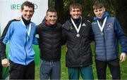 7 March 2020; On the podium are, from left, Brendan Boyce of Finn Valley AC, Donegal, Rob Heffernan, Wayne Snyman of South Africa, and David Kenny of Farranfore Maine Valley AC, Kerry, following the Irish Life Health National 20k Walks Championships at St Anne's Park in Raheny, Dublin. Photo by Ramsey Cardy/Sportsfile