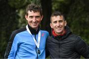 7 March 2020; Brendan Boyce of Finn Valley AC, Donegal, and Rob Heffernan, right, following the Irish Life Health National 20k Walks Championships at St Anne's Park in Raheny, Dublin. Photo by Ramsey Cardy/Sportsfile