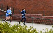 23 February 2020; Dublin players, from left, Lyndsey Davey, Niamh Hetherton, and Ciara Trant make their way to the pitch for the second half of the 2020 Lidl Ladies National Football League Division 1 Round 4 match between Dublin and Galway at Dublin City University Sportsgrounds in Glasnevin, Dublin. Photo by Piaras Ó Mídheach/Sportsfile