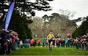 7 March 2020; Abdel Laadjel of Kisoge Community College, Co Dublin celebrates as he wins the Intermediate Boys race during the Irish Life Health All-Ireland Schools Cross Country Championships at Santry Demesne in Santry, Dublin. Photo by David Fitzgerald/Sportsfile
