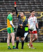 7 March 2020; Luke Gavigan of Donegal receives a red card from Referee Darren O'Hare during the EirGrid Ulster GAA Football U20 Championship Final match between Tyrone and Donegal at St Tiernach's Park in Clones, Monaghan. Photo by Oliver McVeigh/Sportsfile