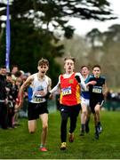 7 March 2020; Luke O'Shea Breen of Temple Carrig, Co Wicklow, right, races alongside eventual second place Sean O'Croinin of Colaiste Ghlor Na Mara, Co Dublin on his way to winning Minor Boy's race during the Irish Life Health All-Ireland Schools Cross Country Championships at Santry Demesne in Santry, Dublin. Photo by David Fitzgerald/Sportsfile