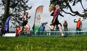 7 March 2020; Emma O'Brien of Mercy Killbeggan, Co Westmeath, right, and Ailise Barry of St Marys Midleton, Co Cork competing in the Minor Girls race during the Irish Life Health All-Ireland Schools Cross Country Championships at Santry Demesne in Santry, Dublin. Photo by David Fitzgerald/Sportsfile