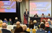 7 March 2020; LGFA President Elect Micheál Naughton makes a speech before winning the election during the LGFA Annual Congress 2020 at the Loughrea Hotel & Spa in Loughrea, Galway. Photo by Piaras Ó Mídheach/Sportsfile