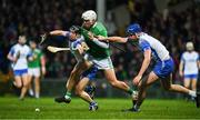 7 March 2020; Aaron Gillane of Limerick is tackled by Conor Gleeson, left, and Conor Prunty of Waterford during the Allianz Hurling League Division 1 Group A Round 3 match between Limerick and Waterford at LIT Gaelic Grounds in Limerick. Photo by Eóin Noonan/Sportsfile