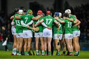 7 March 2020; Limerick players huddle prior to the Allianz Hurling League Division 1 Group A Round 3 match between Limerick and Waterford at LIT Gaelic Grounds in Limerick. Photo by Eóin Noonan/Sportsfile