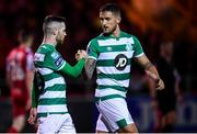 7 March 2020; Jack Byrne of Shamrock Rovers celebrates after scoring his side's first goal with team-mate Lee Grace during the SSE Airtricity League Premier Division match between Sligo Rovers and Shamrock Rovers at The Showgrounds in Sligo. Photo by Stephen McCarthy/Sportsfile