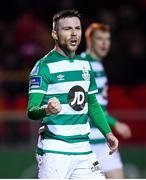 7 March 2020; Jack Byrne of Shamrock Rovers celebrates after scoring his side's first goal during the SSE Airtricity League Premier Division match between Sligo Rovers and Shamrock Rovers at The Showgrounds in Sligo. Photo by Stephen McCarthy/Sportsfile