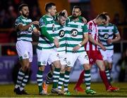 7 March 2020; Jack Byrne of Shamrock Rovers celebrates after scoring his side's first goal with team-mates, from left, Roberto Lopes, Aaron Greene and Greg Bolger during the SSE Airtricity League Premier Division match between Sligo Rovers and Shamrock Rovers at The Showgrounds in Sligo. Photo by Stephen McCarthy/Sportsfile