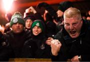 7 March 2020; Shamrock Rovers supporters celebrate after their side's first goal, scored by Jack Byrne, during the SSE Airtricity League Premier Division match between Sligo Rovers and Shamrock Rovers at The Showgrounds in Sligo. Photo by Stephen McCarthy/Sportsfile