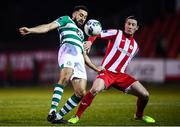 7 March 2020; Roberto Lopes of Shamrock Rovers in action against Ronan Coughlan of Sligo Rovers during the SSE Airtricity League Premier Division match between Sligo Rovers and Shamrock Rovers at The Showgrounds in Sligo. Photo by Stephen McCarthy/Sportsfile
