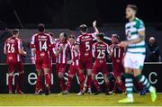 7 March 2020; Sligo Rovers players celebrate after their side's first goal, a penalty scored by Ronan Coughlan, third from left, during the SSE Airtricity League Premier Division match between Sligo Rovers and Shamrock Rovers at The Showgrounds in Sligo. Photo by Stephen McCarthy/Sportsfile