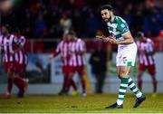 7 March 2020; Roberto Lopes of Shamrock Rovers encourages his players after conceding their side's first goal during the SSE Airtricity League Premier Division match between Sligo Rovers and Shamrock Rovers at The Showgrounds in Sligo. Photo by Stephen McCarthy/Sportsfile