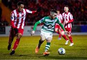 7 March 2020; Jack Byrne of Shamrock Rovers in action against Will Seymour of Sligo Rovers during the SSE Airtricity League Premier Division match between Sligo Rovers and Shamrock Rovers at The Showgrounds in Sligo. Photo by Stephen McCarthy/Sportsfile