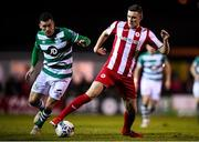 7 March 2020; Garry Buckley of Sligo Rovers in action against Aaron Greene of Shamrock Rovers during the SSE Airtricity League Premier Division match between Sligo Rovers and Shamrock Rovers at The Showgrounds in Sligo. Photo by Stephen McCarthy/Sportsfile