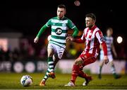 7 March 2020; Jack Byrne of Shamrock Rovers in action against David Cawley of Sligo Rovers during the SSE Airtricity League Premier Division match between Sligo Rovers and Shamrock Rovers at The Showgrounds in Sligo. Photo by Stephen McCarthy/Sportsfile
